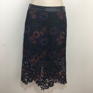 Top shop lace and faux leather midi skirt petite